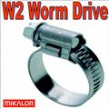 80mm - 100mm Mikalor W2 Stainless Steel Worm Drive Hose Clip